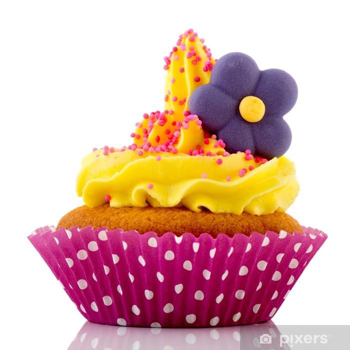 Papier peint vinyle Petit gâteau rose avec de la crème jaune et fleur - Riz