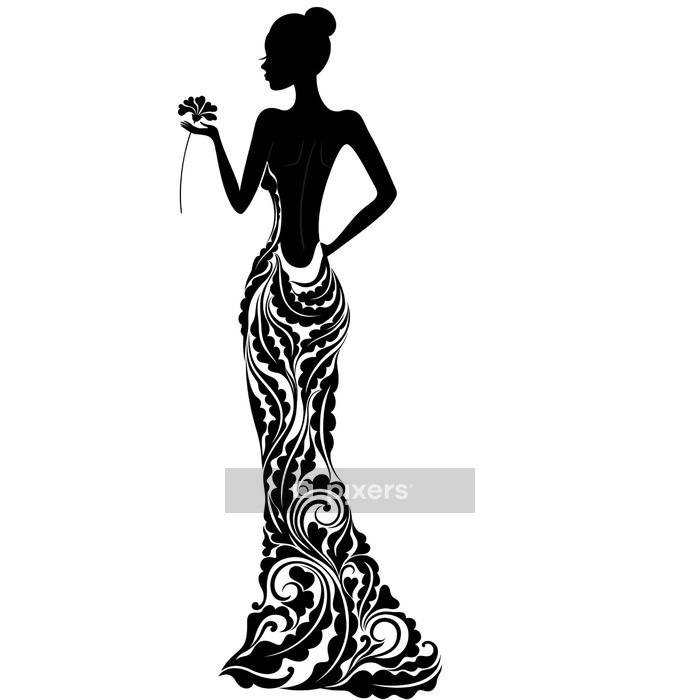 Vinilo para Pared Chica en un vestido con adornos florales - Moda