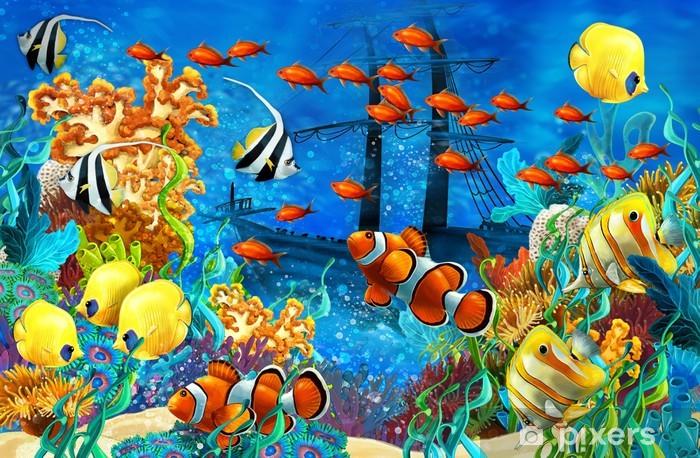 Sticker Pixerstick Le récif de corail - illustration pour les enfants - Récif de corail