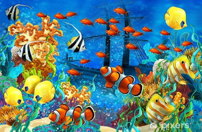 The coral reef - illustration for the children Pixerstick Sticker - Coral reef