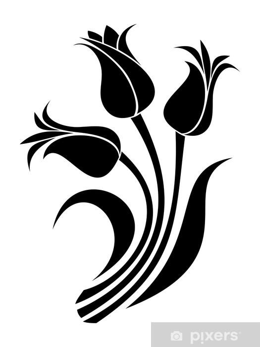 Papier peint vinyle Les silhouettes noires des tulipes. Vector illustration. - Fleurs