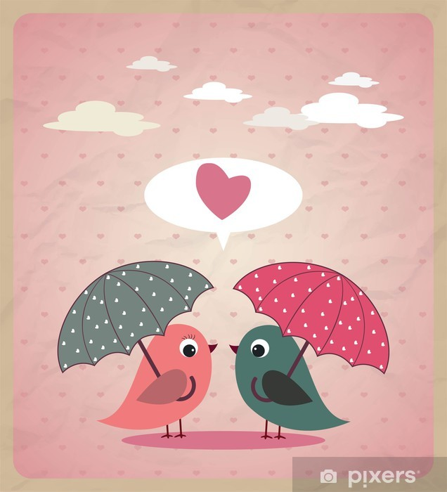 Love Birds Vector Wall Mural - Vinyl