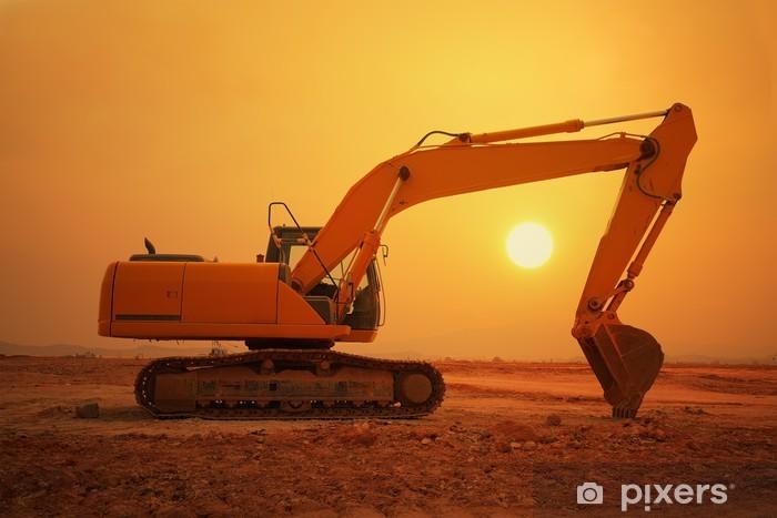 Adesivo Pixerstick Macchina caricatore escavatore durante il movimento terra lavora all'aperto - Industria pesante