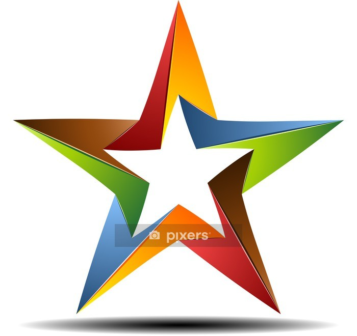 Adesivo da Parete Origami stella di colore - Segni e Simboli