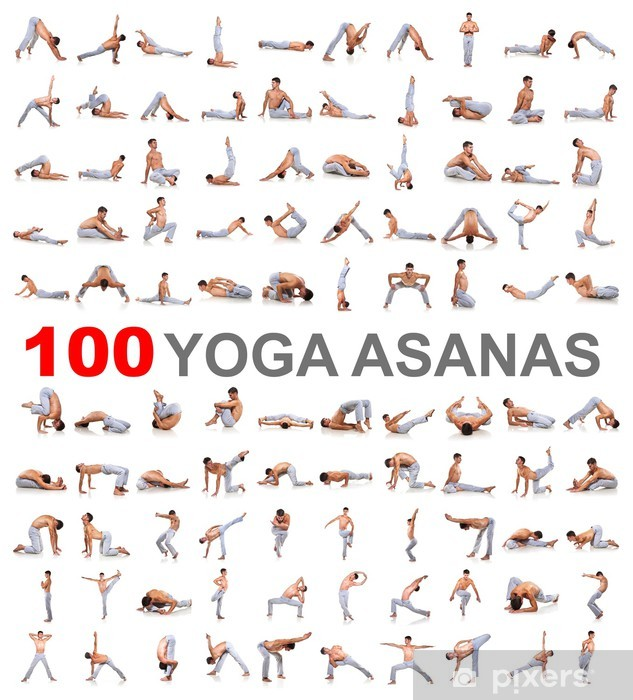 Vinilo Pixerstick 100 posturas de yoga en el fondo blanco - Deportes individuales