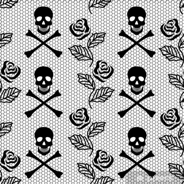 Plakát Bezešvé vzor růže a lebky - Pozadí