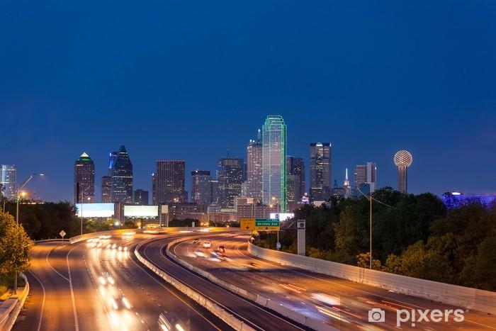 Dallas downtown skyline at night, Texas Pixerstick Sticker - America