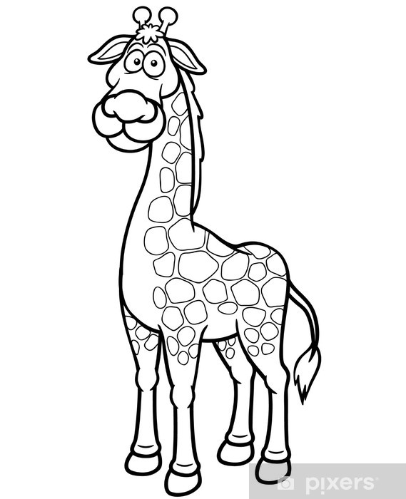 Zürafa Karikatür Vektör çizim Boyama Kitabı Duvar Resmi Pixers