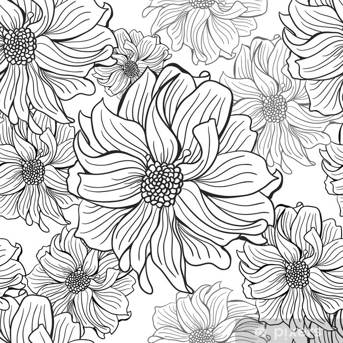 Hand Drawn Flowers Of Dahlia In Black And White Seamless Wall Mural Pixers We Live To Change