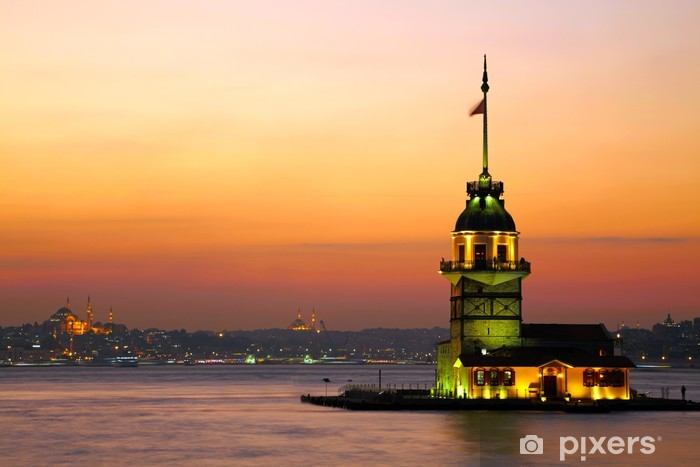 Maiden's Tower (Kiz Kulesi). Istanbul, Turkey Pixerstick Sticker - Lighthouse