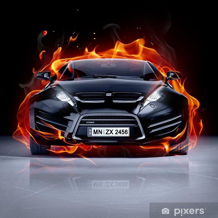 Vinil Duvar Resmi Buz üzerinde yangın araba. Brandless spor otomobil. -
