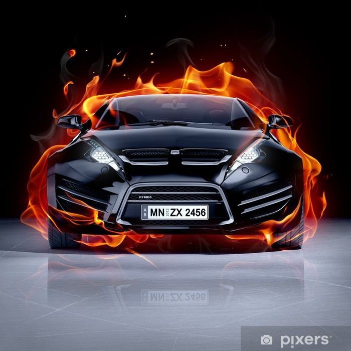 Fire car on ice. Brandless sports car. Vinyl Wall Mural -