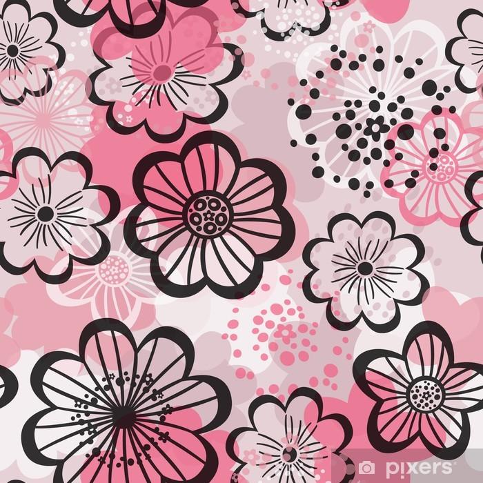 Papier peint vinyle Seamless floral. Fleurs roses graphiques. - Textures