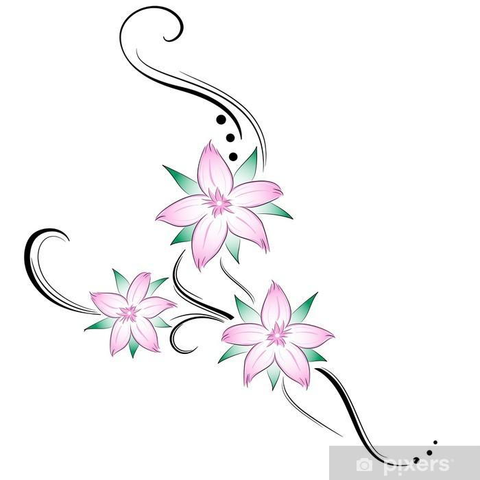 Fiori Di Ciliegio Stilizzati Tatuaggio Wall Mural Pixers We
