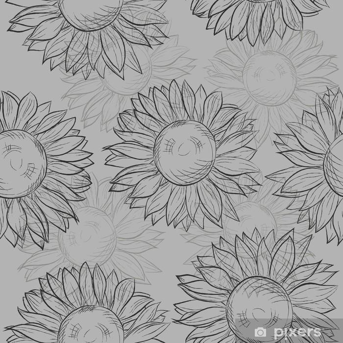 0b49772c539dd6 Fototapeta winylowa Bez szwu deseń, słoneczniki. abstrakcyjna szary, czarny  i biały.