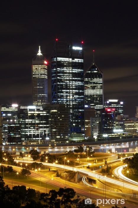 Sticker Pixerstick Ville de Perth dans la nuit - Réussite