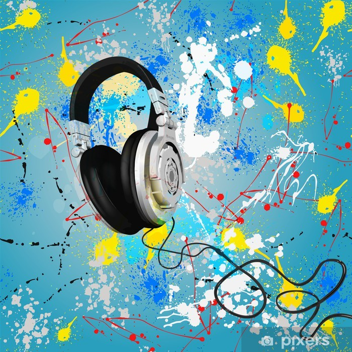 vector abstract headphones composition Vinyl Wall Mural - Backgrounds