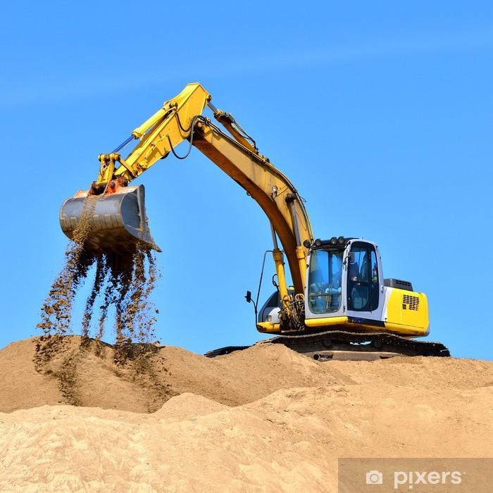 Vinilo Pixerstick Excavadora amarilla nuevo trabajo en las dunas de arena - Industria pesada