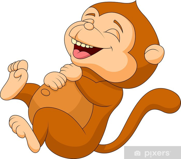 70468c8ed Cute monkey cartoon laughing Sticker • Pixers® • We live to change