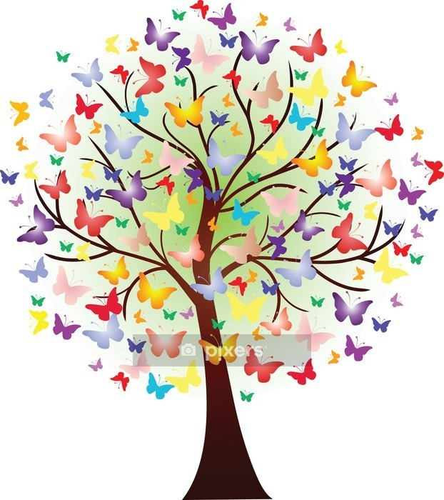 Vector beautiful spring tree, consisting of butterflies Wall Decal - Wall decals