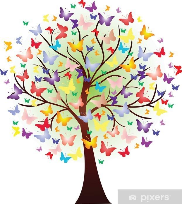 Vinilo Pixerstick Vector hermoso árbol de primavera, que consta de las mariposas - Vinilo para pared