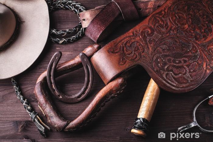 Vinyl Fotobehang Kleding en accessoires voor paardrijden. - Individuele sport