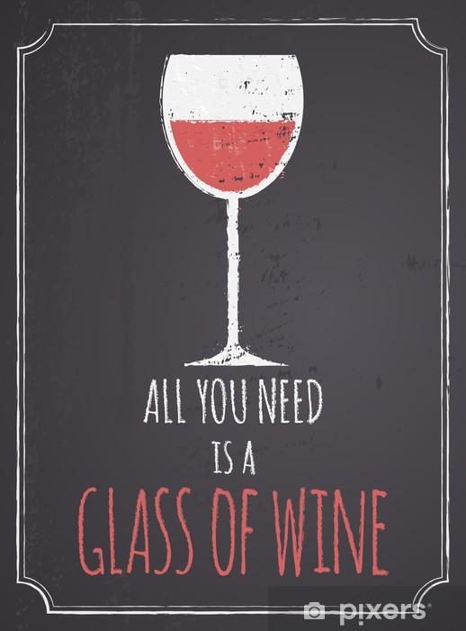 Chalkboard Red Wine Design Pixerstick Sticker - Styles