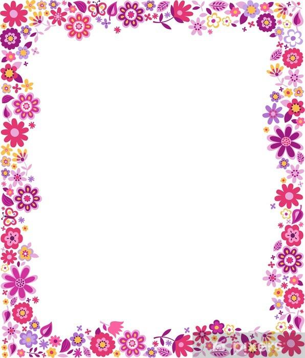 Fototapeta zmywalna Kwiatowy wzór border frame - Kwiaty