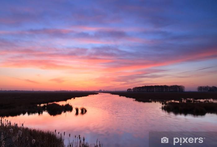 Tranquil riverside sunrise Pixerstick Sticker - Themes