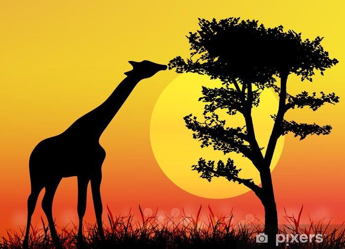 Naklejka Pixerstick Żyrafa w Parku Narodowym. Afryka savanna.Landscape.Vector - Pory roku