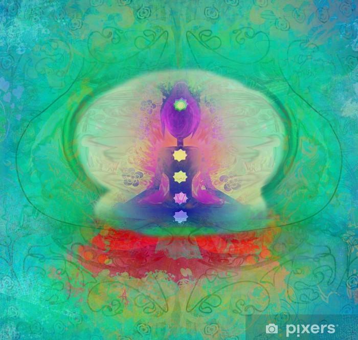 Fototapeta winylowa Yoga lotosu. Padmasana z kolorowymi punktami czakry. - Religia i duchowość