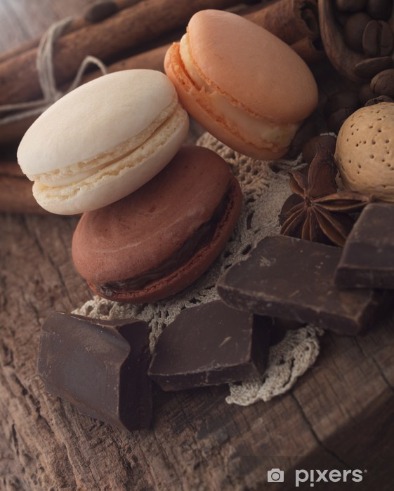 macaroons with ingredients and chocolate Pixerstick Sticker - Themes