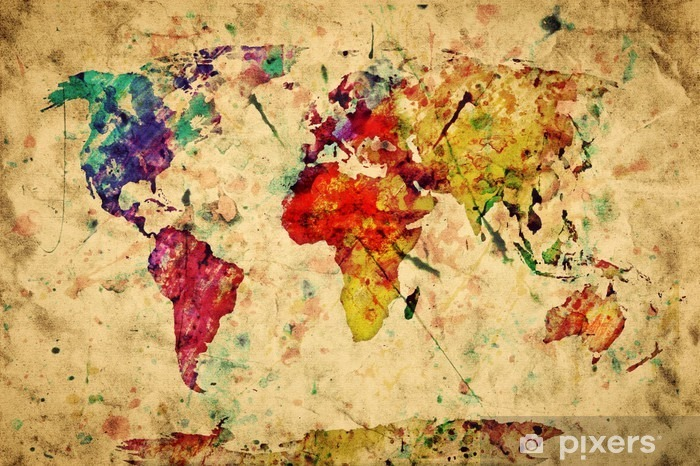 Vintage world map. Colorful paint, watercolor on grunge paper Pixerstick Sticker -
