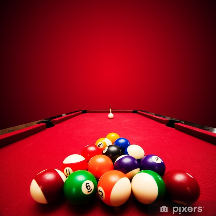 Billards pool game. Color balls in triangle, aiming at cue ball Vinyl Wall Mural - Sports Items