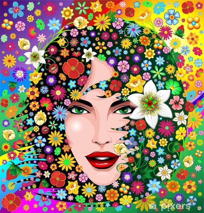 Vinylová fototapeta Matky přírody Žena s květinami portrét-Madre Natura ritratto - Vinylová fototapeta
