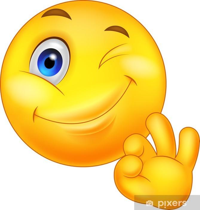 Vinilo Pixerstick Smiley emoticono con la muestra aceptable ...