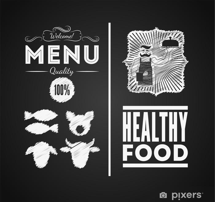Poster Illustration d'un élément graphique de cru pour le menu sur le tableau noir - Viande