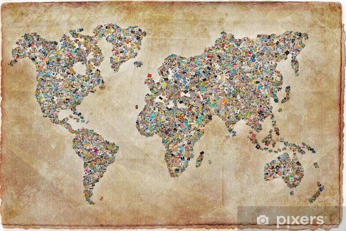 Carte du monde photos, texture vintage Pixerstick Sticker - Themes