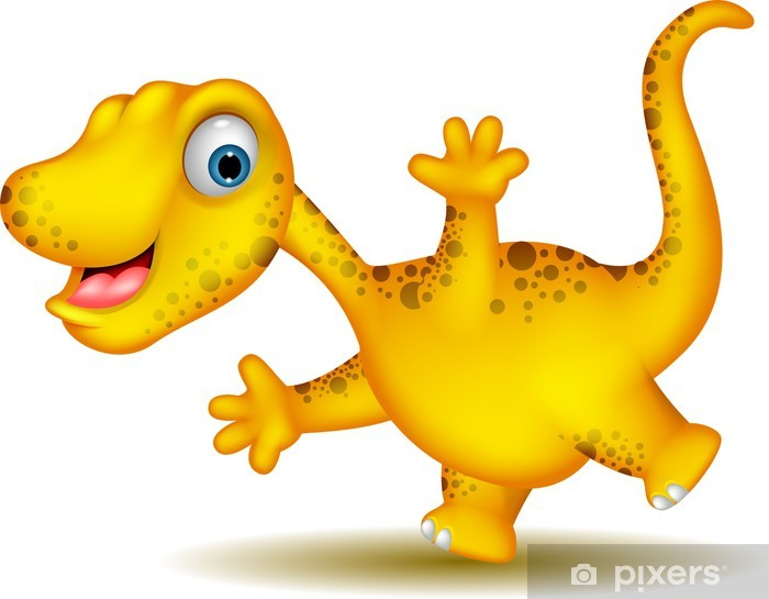 Fototapete Nettes Gelbes Dinosaurier Cartoon