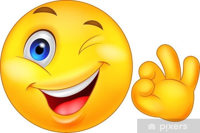 Pixerstick-klistremerke Smiley uttrykksikon med ok tegn • Pixers® - Vi lever for forandring