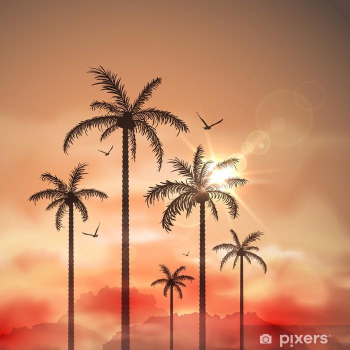 Poster Tropische Landschaft mit Palmen - Natur