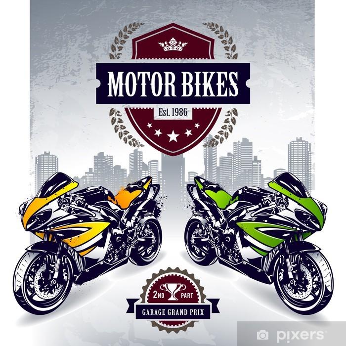 Nálepka Pixerstick Dvě sportovní motorky se stylovým znakem klubu - Na cestě