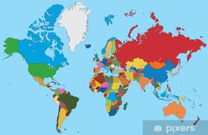 Farverige Kort Over Verden Vaskbare Fototapet Pixers Vi Lever