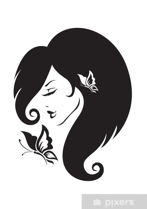 Fototapeta winylowa Czarno-biały sylwetka dziewczyny - Części ciała