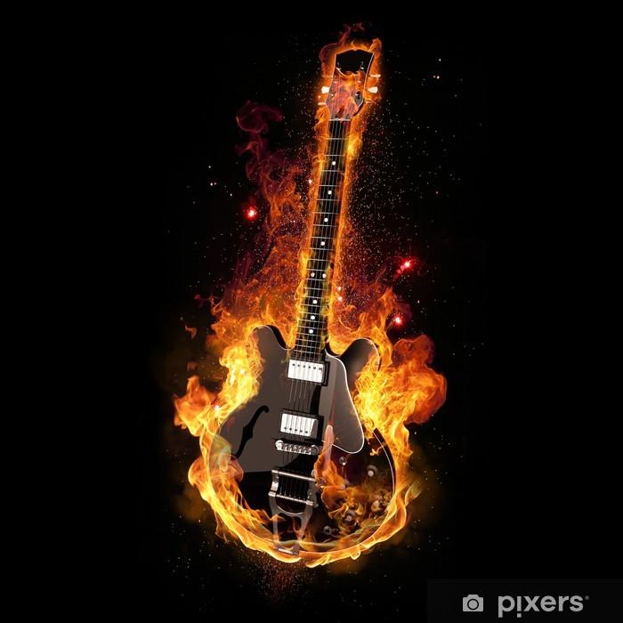 E Gitarre unter Feuer Poster - Rock