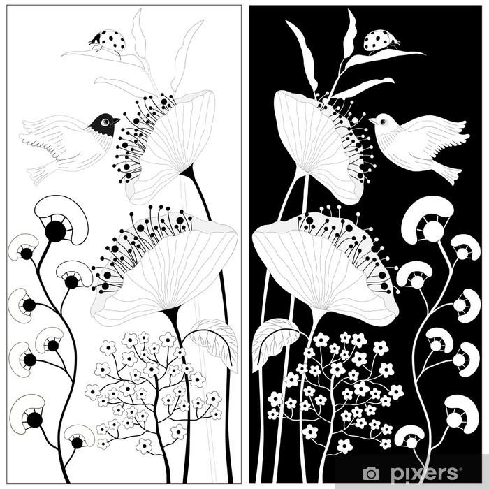 Papier Peint Fleurs Noir Et Blanc Pixers Nous Vivons Pour Changer