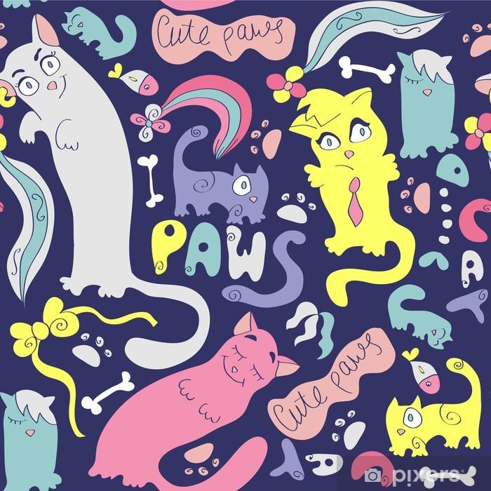 Fototapeta winylowa Kolorowe szwu z uroczych różnych kotów - Zasoby graficzne