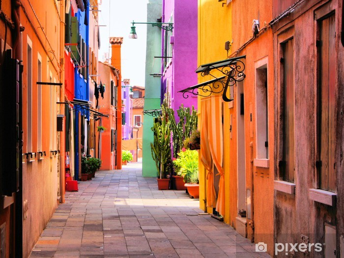 Pixerstick Sticker Kleurrijke straat in Italië -