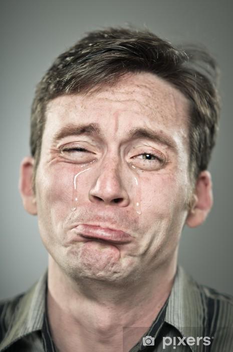 Naklejka Pixerstick Młody mężczyzna kaukaski płacze wielkie łzy - Tematy