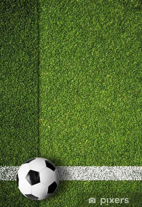 073ecb35 Fototapet av vinyl Fotball på hvit markeringslinje, kant av fotballbane -